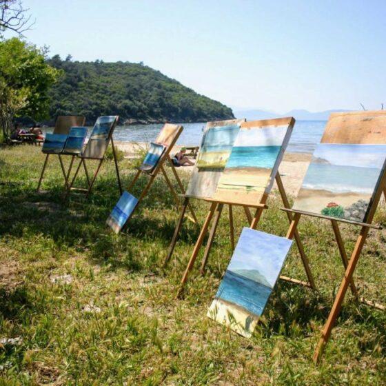 De resultaten van de zee schilderen
