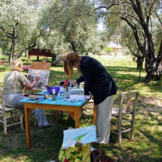 Workshop schilderen bij Emel Pension